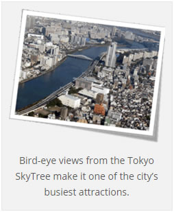 Bird-eye views from the Tokyo SkyTree make it one of the city's busiest attractions.